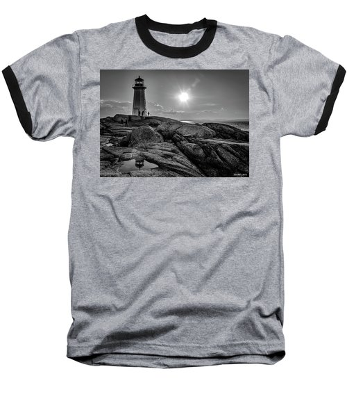 Bw Of Iconic Lighthouse At Peggys Cove  Baseball T-Shirt by Ken Morris