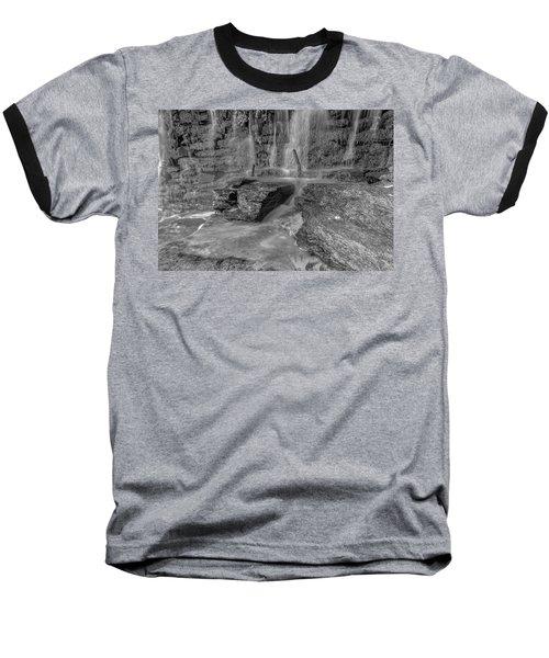 Bw Rock Wall Waterfall Baseball T-Shirt