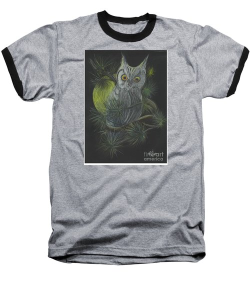 Baseball T-Shirt featuring the drawing By The Light Of The Moon by Carol Wisniewski