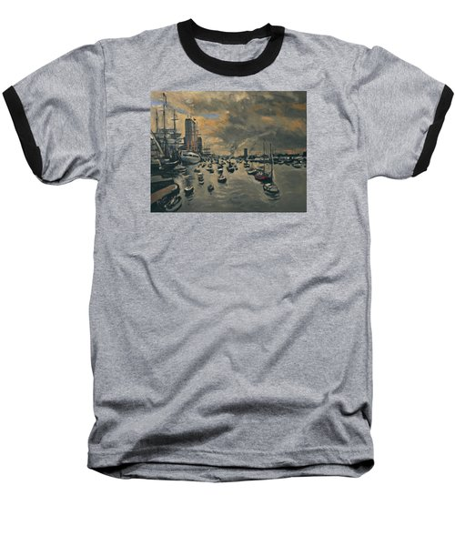 Baseball T-Shirt featuring the painting Bye Bye Sail Amsterdam by Nop Briex