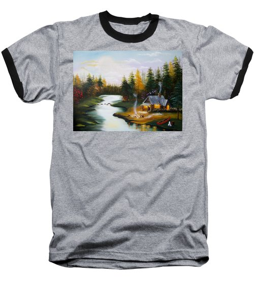 Cabin By The River Baseball T-Shirt