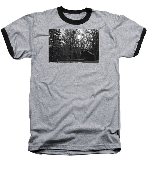 Cabin By The Woods Baseball T-Shirt by Dacia Doroff