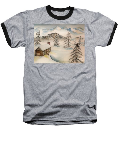 Cabin In The Rockies Baseball T-Shirt