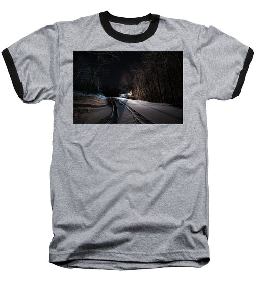 Cabin In The Winter Baseball T-Shirt