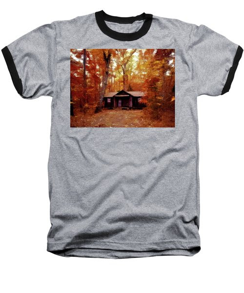 Baseball T-Shirt featuring the painting Cabin In The Woods P D P by David Dehner