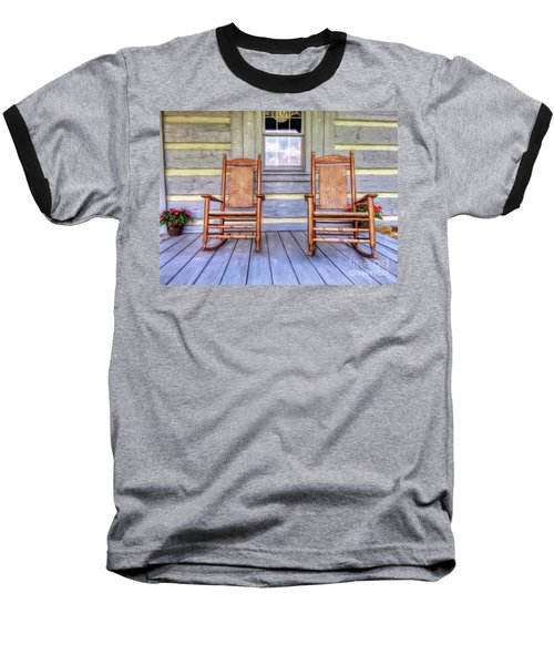 Cabin Porch Baseball T-Shirt by Marion Johnson