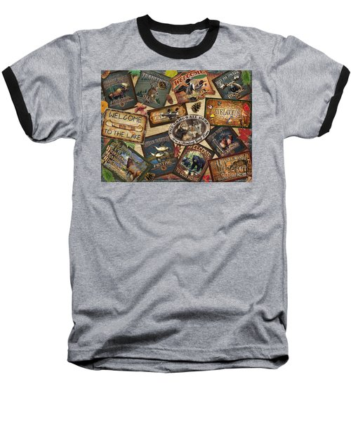 Cabin Sign Collage Baseball T-Shirt