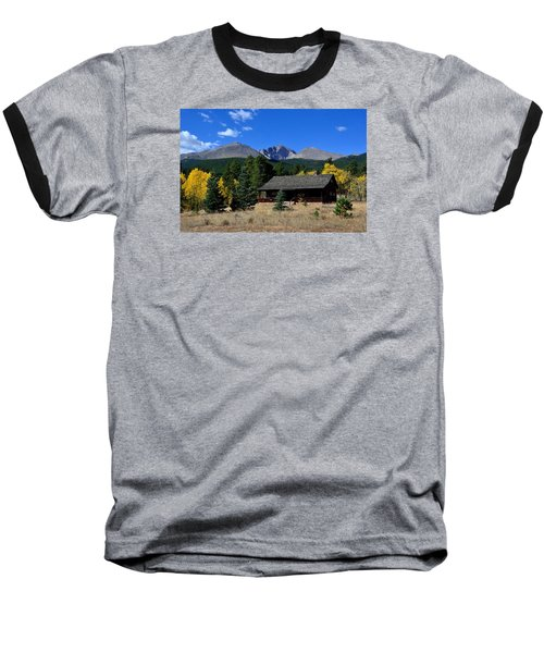 Cabin With A View Of Long's Peak Baseball T-Shirt