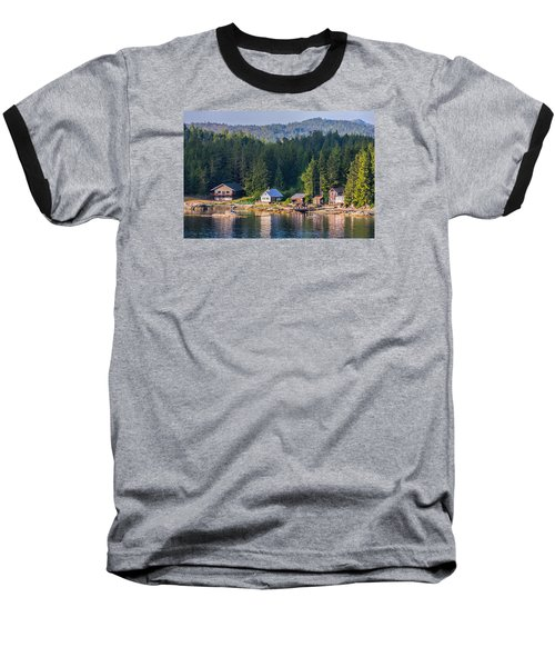 Baseball T-Shirt featuring the photograph Cabins On The Water by Lewis Mann