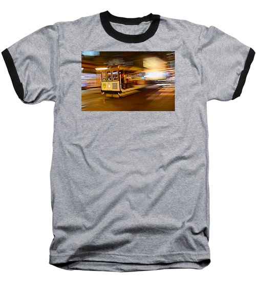 Cable Car At Light Speed Baseball T-Shirt by Steve Siri