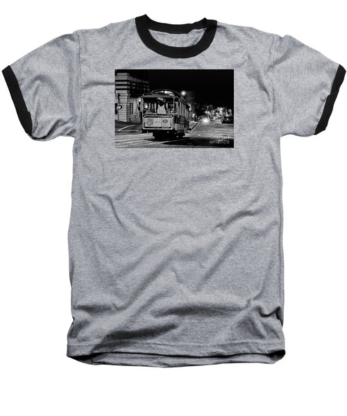 Cable Car At Night - San Francisco Baseball T-Shirt