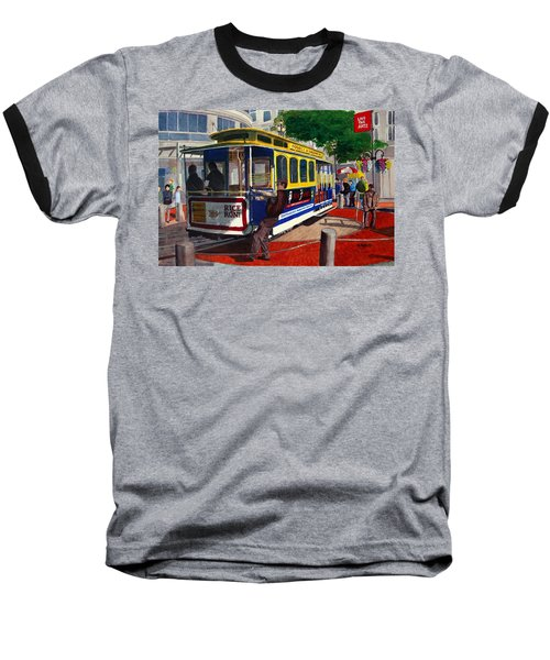 Cable Car Turntable At Powell And Market Sts. Baseball T-Shirt by Mike Robles