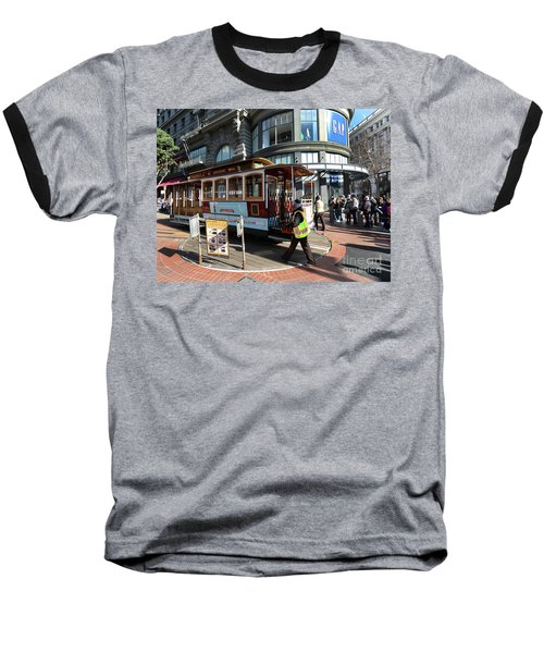Baseball T-Shirt featuring the photograph Cable Car Union Square Stop by Steven Spak