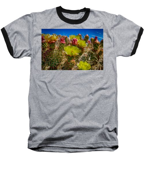 Cactus At The End Of The Road Baseball T-Shirt by Bartz Johnson
