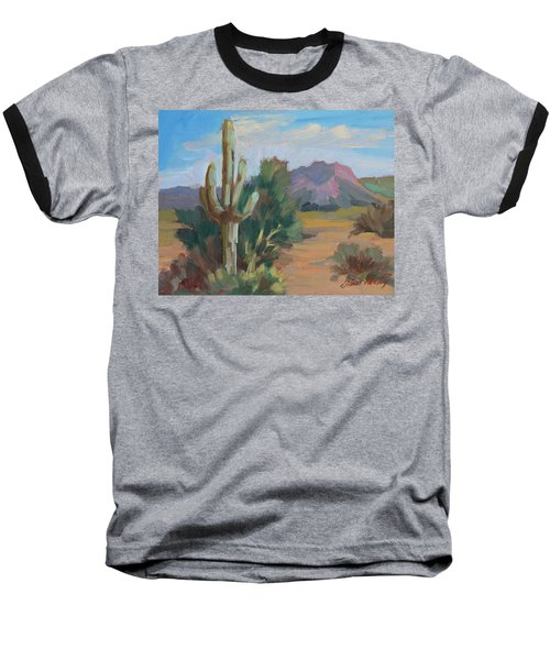 Baseball T-Shirt featuring the painting Cactus By The Red Mountains by Diane McClary