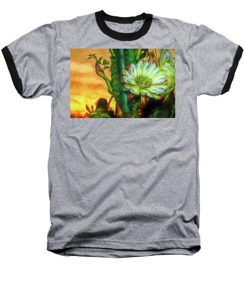 Cactus Flower At Sunrise Baseball T-Shirt