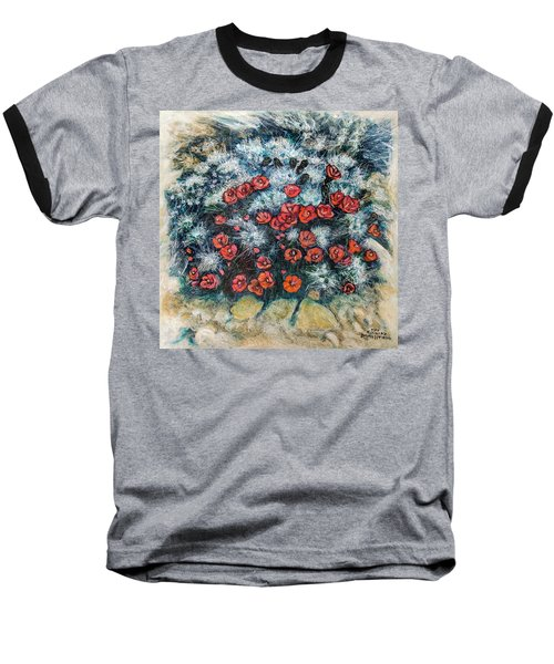 Baseball T-Shirt featuring the painting Cactus Flower by Ron Richard Baviello