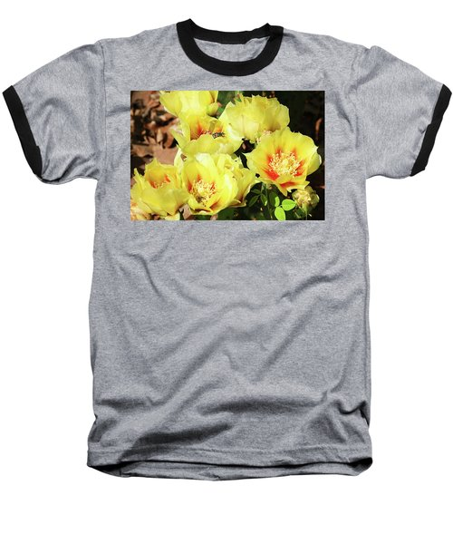 Baseball T-Shirt featuring the photograph Cactus Flowers And Friend by Sheila Brown