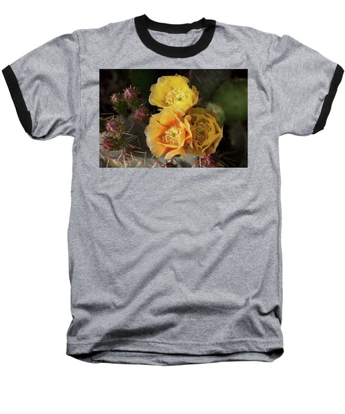 Yellow Cactus Flowers Baseball T-Shirt
