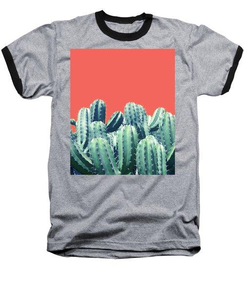 Cactus On Coral Baseball T-Shirt