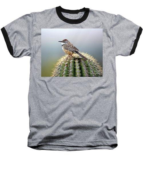 Cactus Wren On Saguaro Baseball T-Shirt