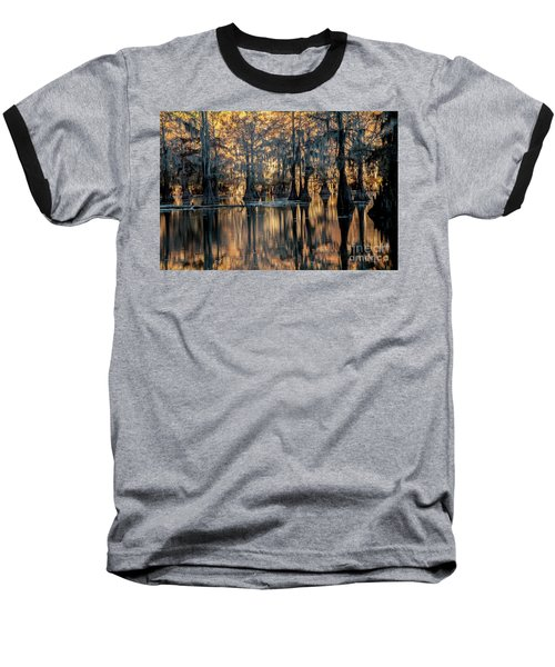 Caddo Lake Sunrise Baseball T-Shirt by Iris Greenwell