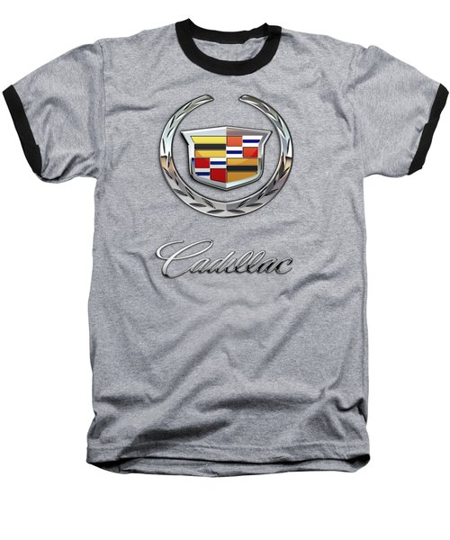 Cadillac - 3 D Badge On Black Baseball T-Shirt