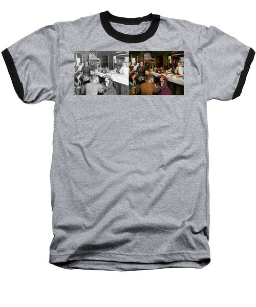 Baseball T-Shirt featuring the photograph Cafe - Temptations 1915 - Side By Side by Mike Savad