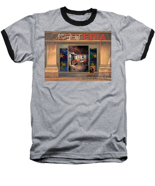 Baseball T-Shirt featuring the painting Cafeteria by Mojo Mendiola