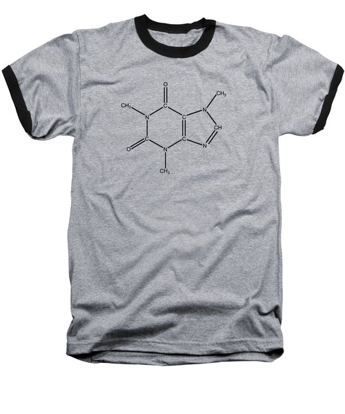 Baseball T-Shirt featuring the drawing Caffeine Molecular Structure Vintage by Nikki Marie Smith