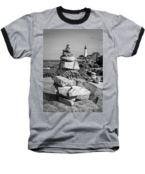 Cairn And Lighthouse  -56052-bw Baseball T-Shirt by John Bald