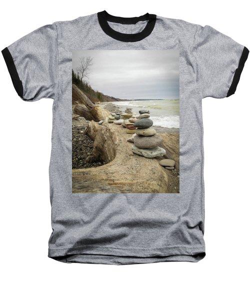 Cairn On The Beach Baseball T-Shirt by Kimberly Mackowski
