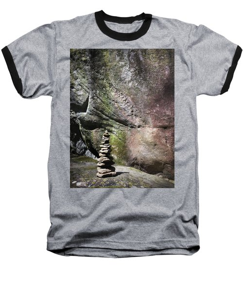 Cairn Rock Stack At Jones Gap State Park Baseball T-Shirt by Kelly Hazel