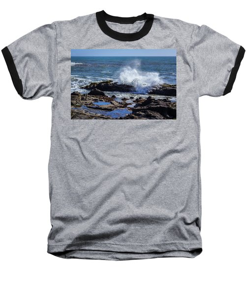 Wave Crashing On California Coast Baseball T-Shirt