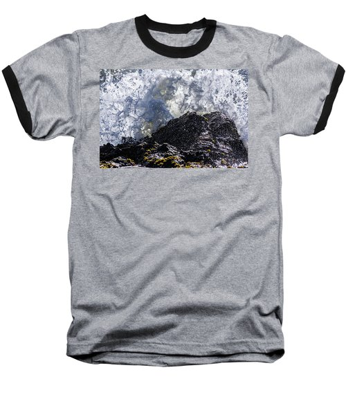 California Coast Wave Crash 5 Baseball T-Shirt