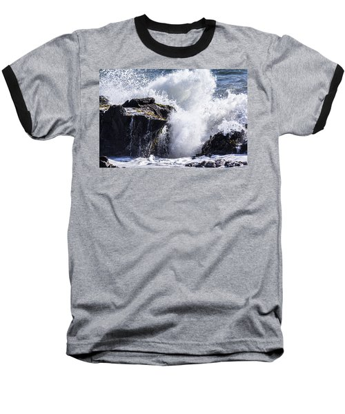 California Coast Wave Crash 6 Baseball T-Shirt