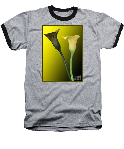 Baseball T-Shirt featuring the photograph Cala Lilies Opposites by Shirley Mangini