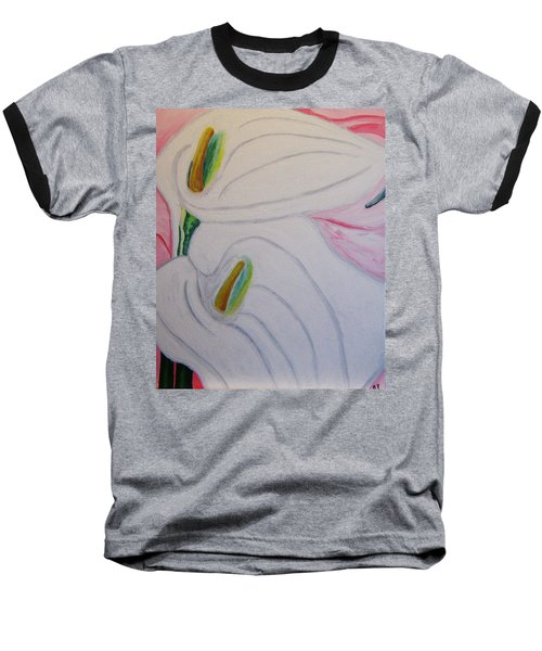 Baseball T-Shirt featuring the painting Cala Lillies by Barbara Yearty