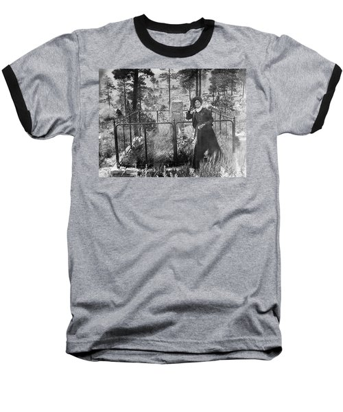 Baseball T-Shirt featuring the photograph Calamity Jane At Wild Bill Hickok's Grave 1903 by Daniel Hagerman