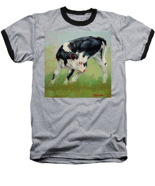 Baseball T-Shirt featuring the painting Calf Contortions by Margaret Stockdale