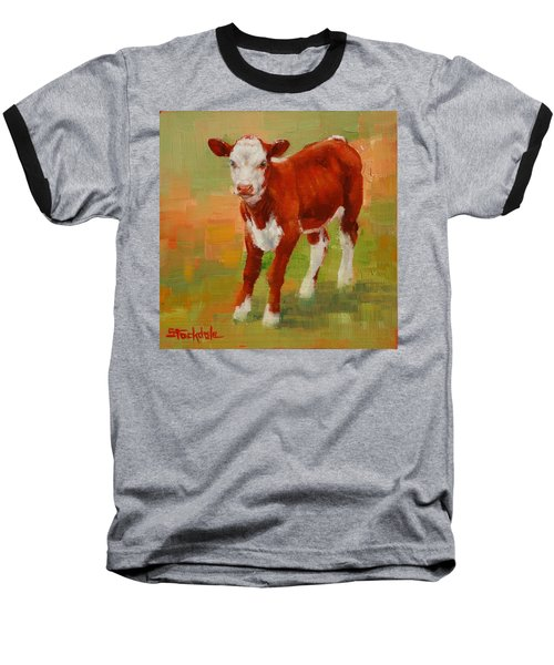 Baseball T-Shirt featuring the painting Calf Miniature by Margaret Stockdale