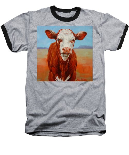 Baseball T-Shirt featuring the painting Calf Stare by Margaret Stockdale