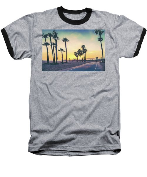 Cali Sunset Baseball T-Shirt by Az Jackson