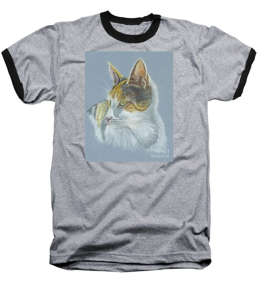 Baseball T-Shirt featuring the drawing Calico Callie by Carol Wisniewski