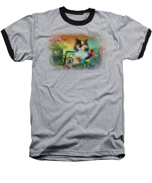 Calico In The Garden Baseball T-Shirt by Jai Johnson