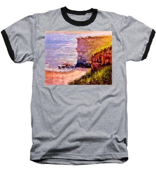 Baseball T-Shirt featuring the painting California Cliffs.. by Cristina Mihailescu