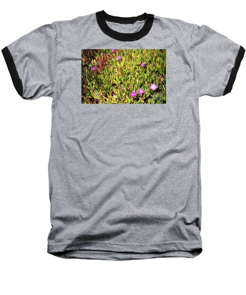 California Coast Ice Plant Baseball T-Shirt by Ted Pollard