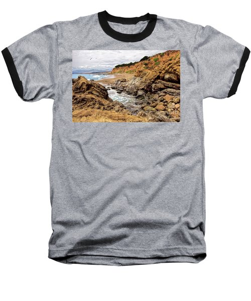 California Coast Rocks Cliffs And Beach Baseball T-Shirt
