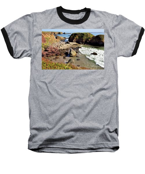 California Coast Rocks Cliffs Iceplant Baseball T-Shirt by Dan Carmichael