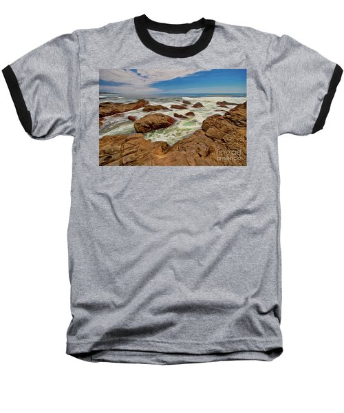 California Coast Waves On Rocks Ap Baseball T-Shirt by Dan Carmichael